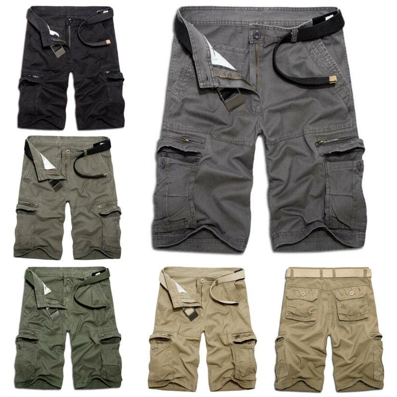 Mens Military Cargo Shorts Work Pants Trousers Tactical