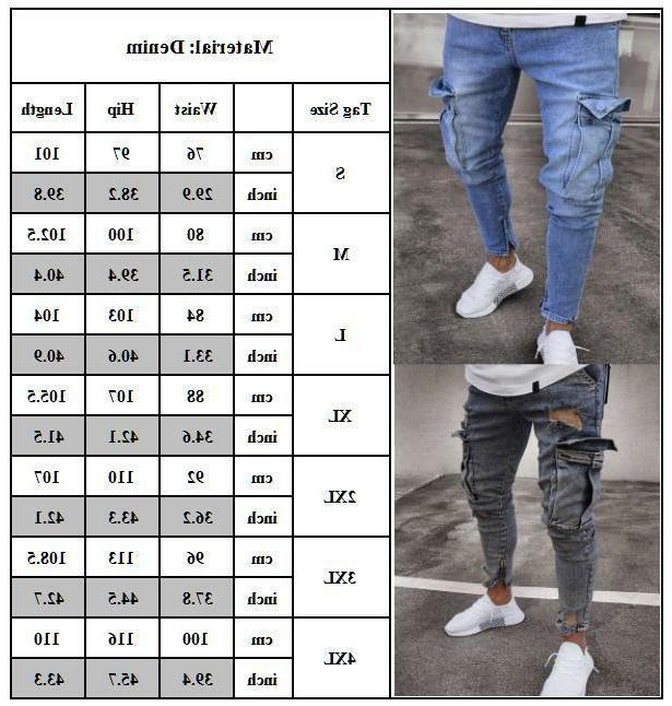 Mens Jeans Distressed Frayed Denim Cargo Trousers US