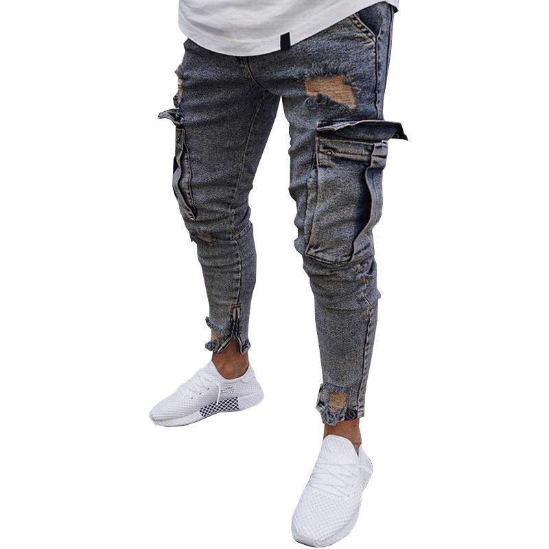 USA Destroyed Frayed Slim Biker Trousers