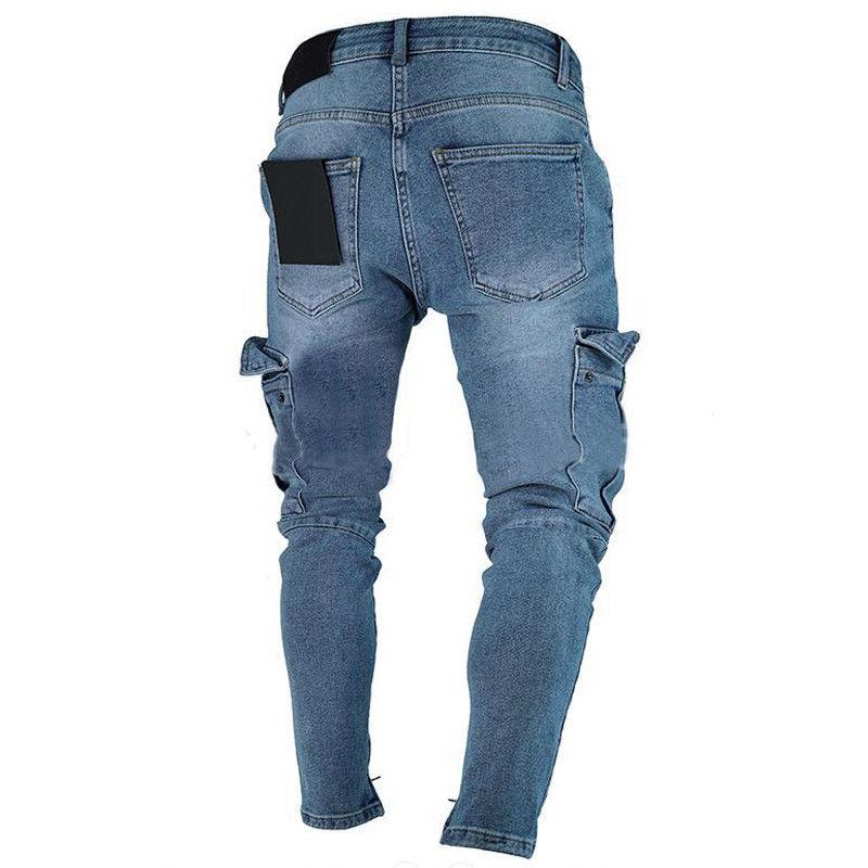USA Skinny Destroyed Frayed Slim Biker Denim Trousers