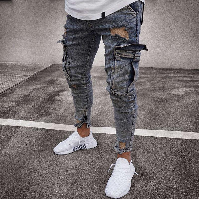 USA Destroyed Biker Denim Trousers