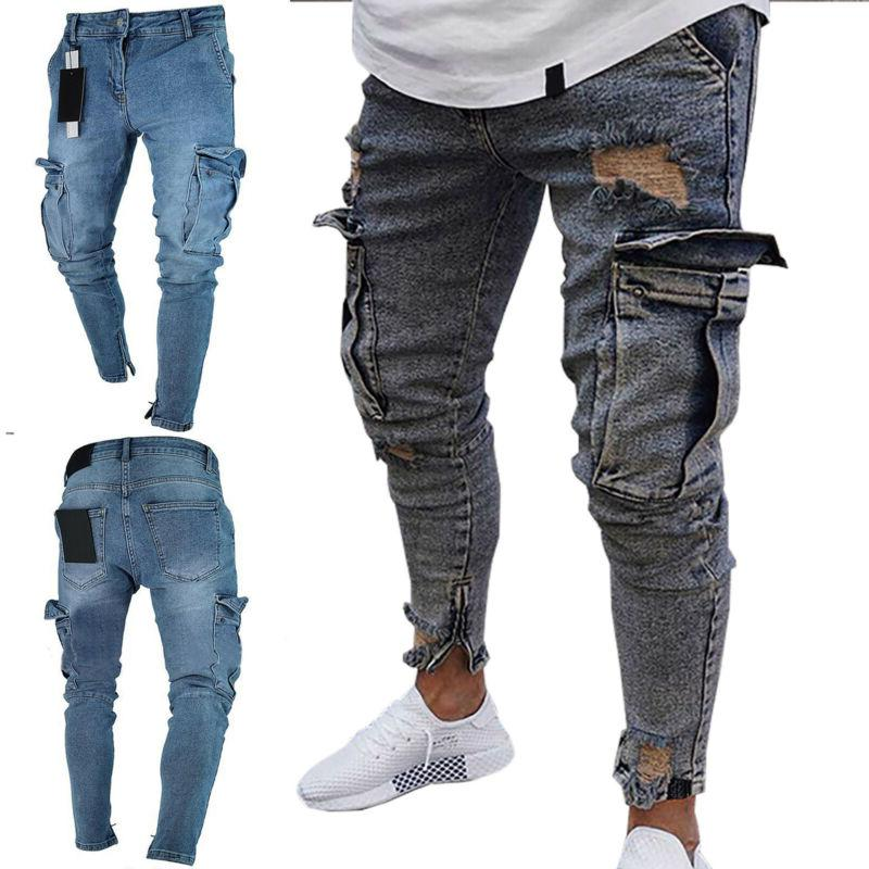 mens skinny biker jeans distressed frayed slim