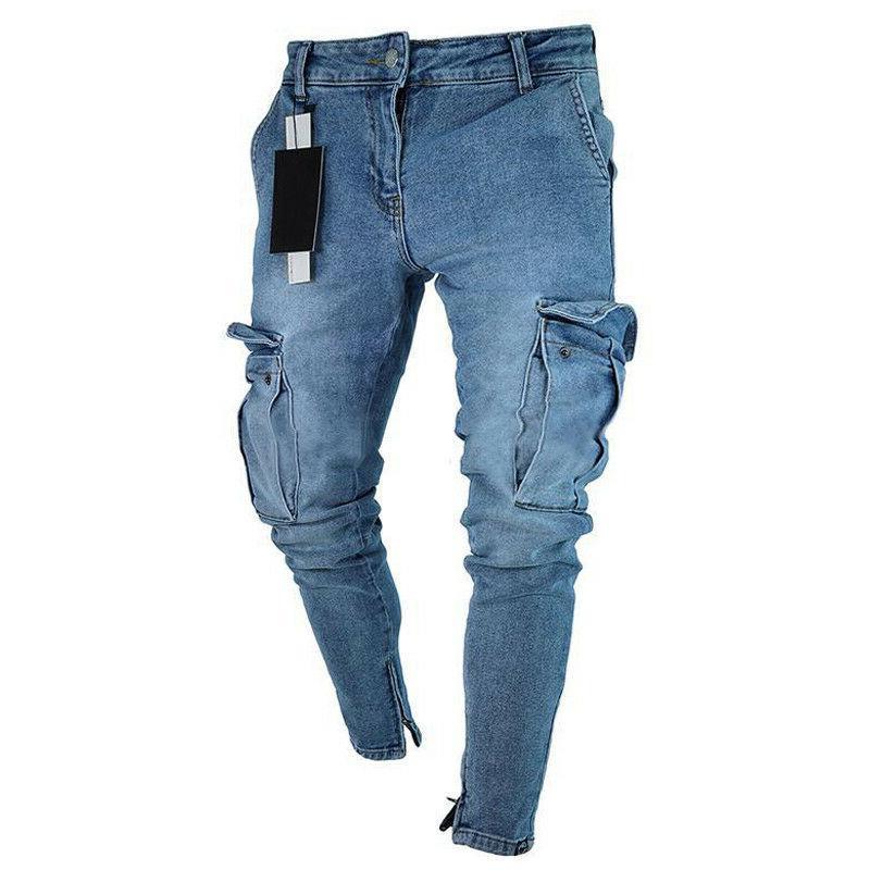 Mens Jeans Denim Cargo Trousers US