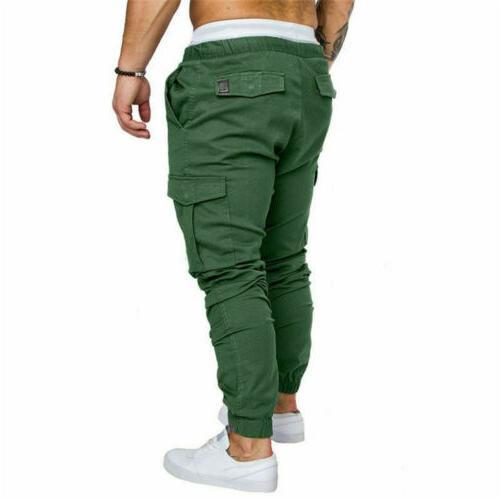 Mens Pocket Fit Urban Leg Trousers Pencil Jogger Sport Pants