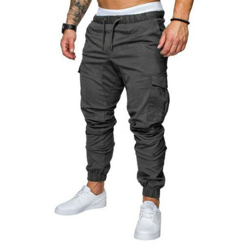 Mens Slim Urban Straight Leg Pencil Jogger Cargo Pants