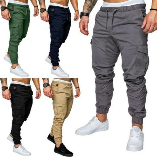 Mens Slim Urban Straight Leg Trousers Pencil Jogger Sport Pants