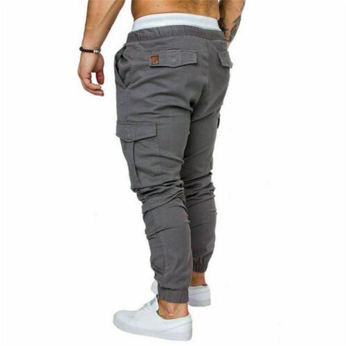 Mens Pocket Urban Straight Trousers Pencil Pants