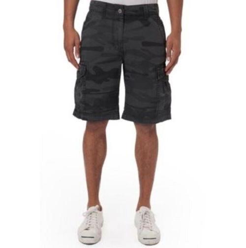 Unionbay Men's Survivor Cargo Shorts Black Camo Size 32 to