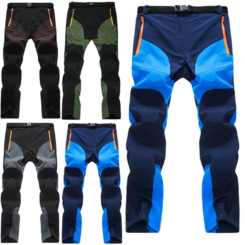 Mens Trouser Cargo Elastic Waist Bottom Pockets Climbing Work Pants