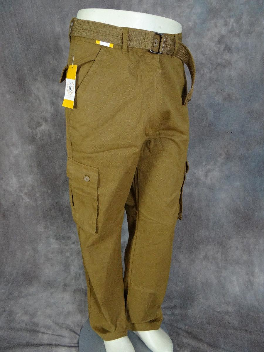 Mens CASUAL Twill CARGO PANTS British Khaki Button Flaps Bel