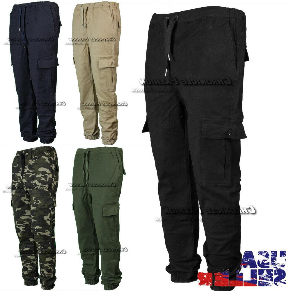 Mens Pants Cargo Pockets Twill Slim Trouser