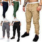 Mens Urban Jogger Cargo Straight Leg Slim Fit Trousers Casua