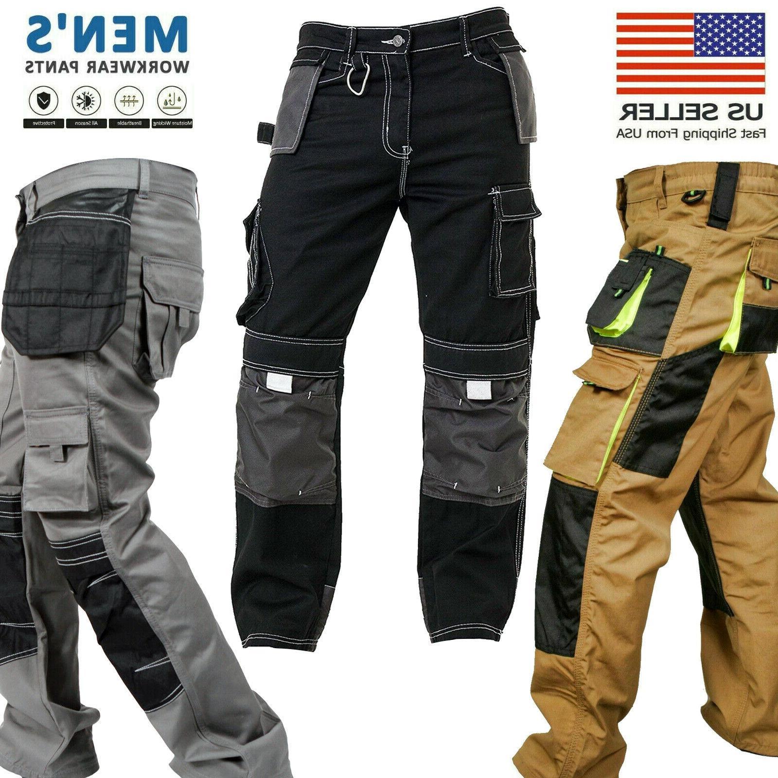 mens work worker safety cordura trousers kneepad