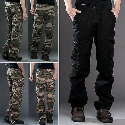 Men's Cotton Cargo Pants Army Casual Trousers