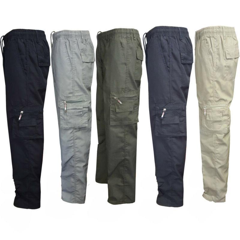 military men s elastic waist cotton cargo