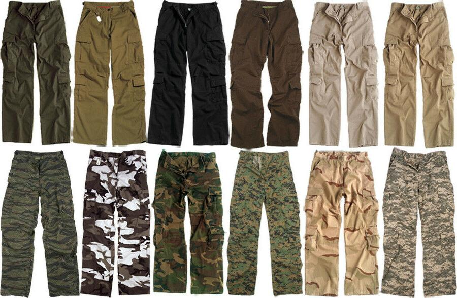 Military Fatigues Cargo Camo Pants Washed Tactical