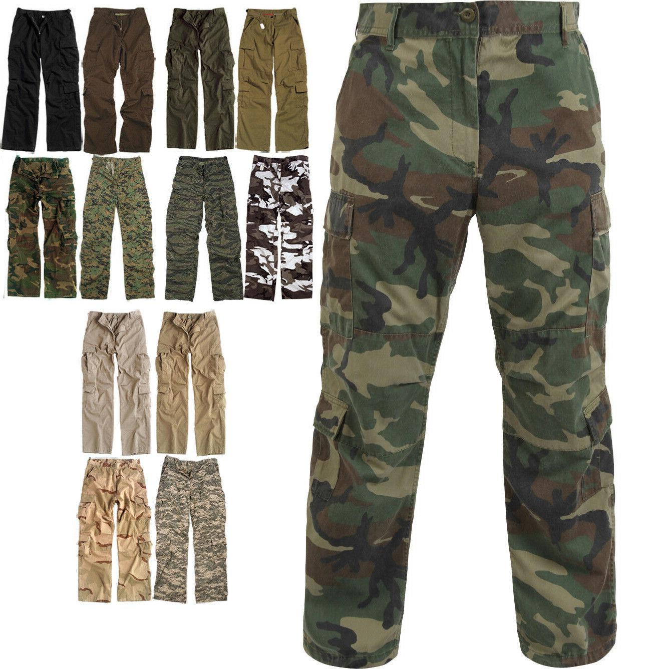 Military Paratrooper Fatigues Camo Pants 8 Washed Tactical
