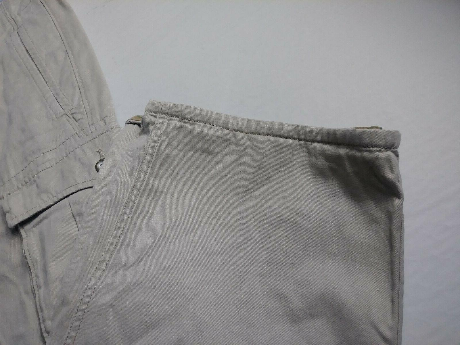 New Mens Khaki Cargo 44x32 Beige Cotton