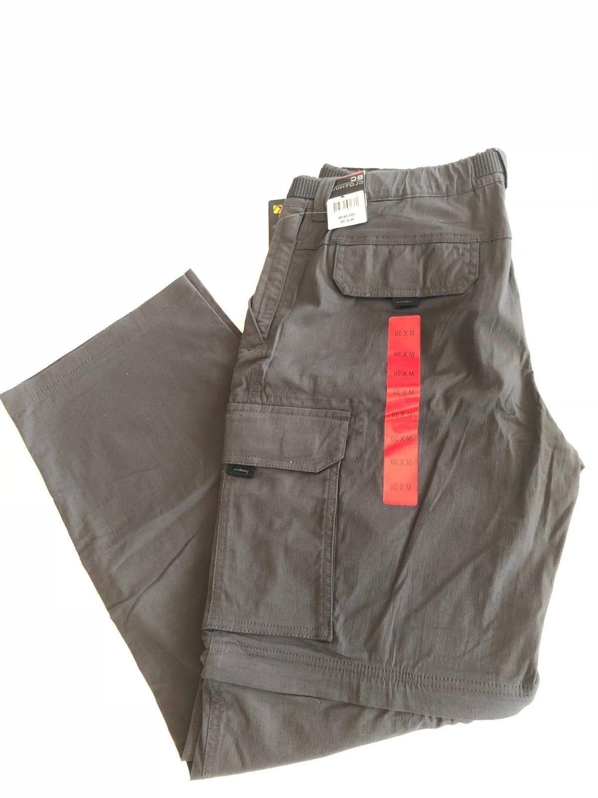 New Men's BC Clothing Convertible Stretch Cargo Pants Charco