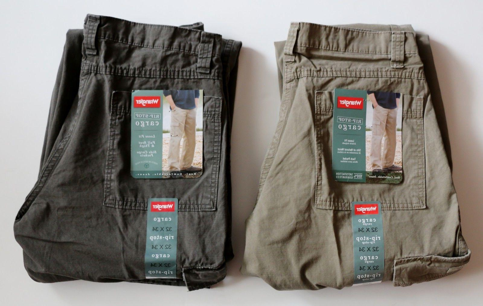 New Wrangler Men's Rip-Stop Cargo Pants Green and Khaki Colo