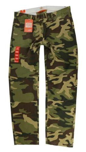 NEW DOCKERS MEN'S SLIM FIT TAPERED COTTON CARGO PANTS GREEN