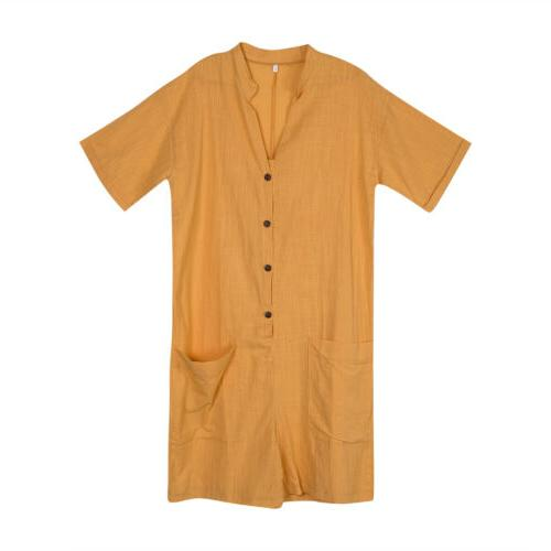 NEW Men's Linen Jumpsuit Rompers Casual Hot