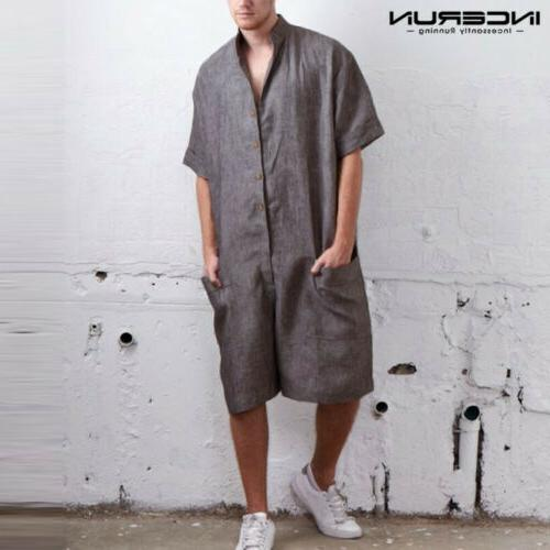NEW One Piece Linen Sleeve Rompers Cargo Hot