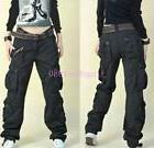 New Womens Military Army loose Cargo Pocket Pants Leisure Tr
