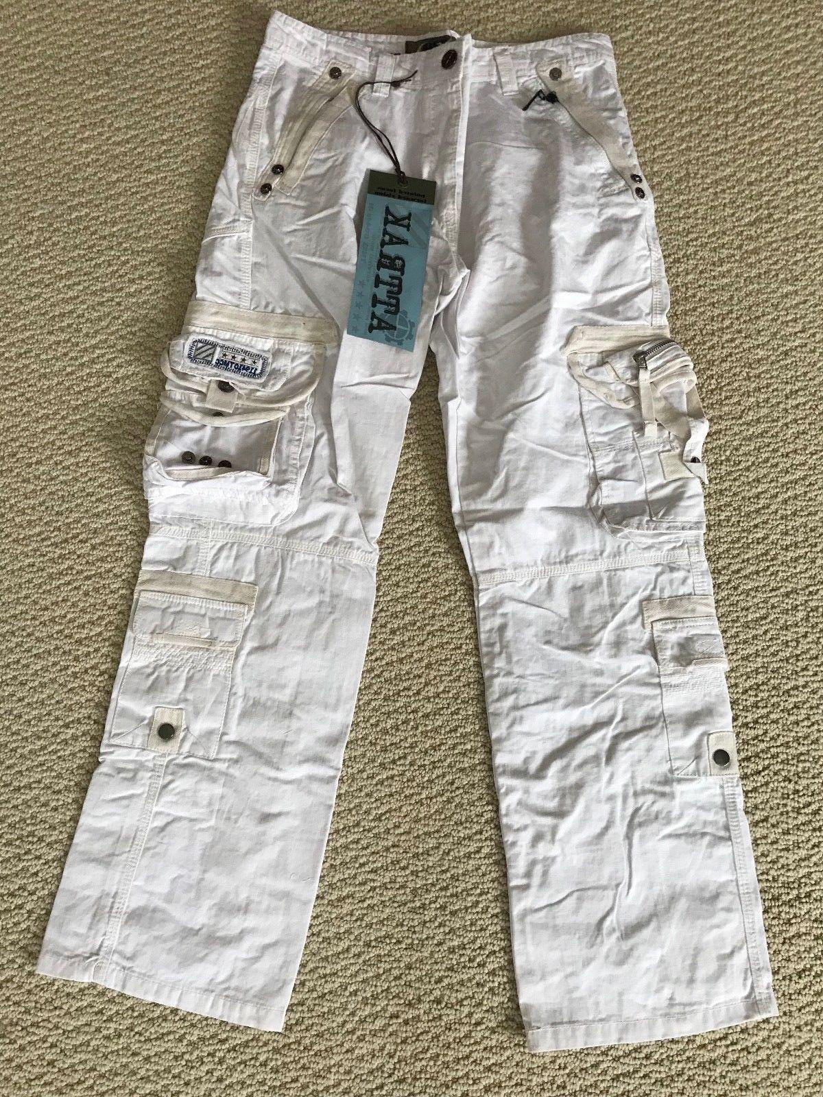NWT Men's Attrak 500 White Embroidered Patch Zip Cargo Pocke