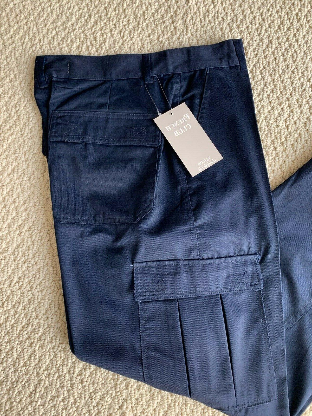 NWT Men's French Classic Navy Flap Cargo Pocket Pants SIZE