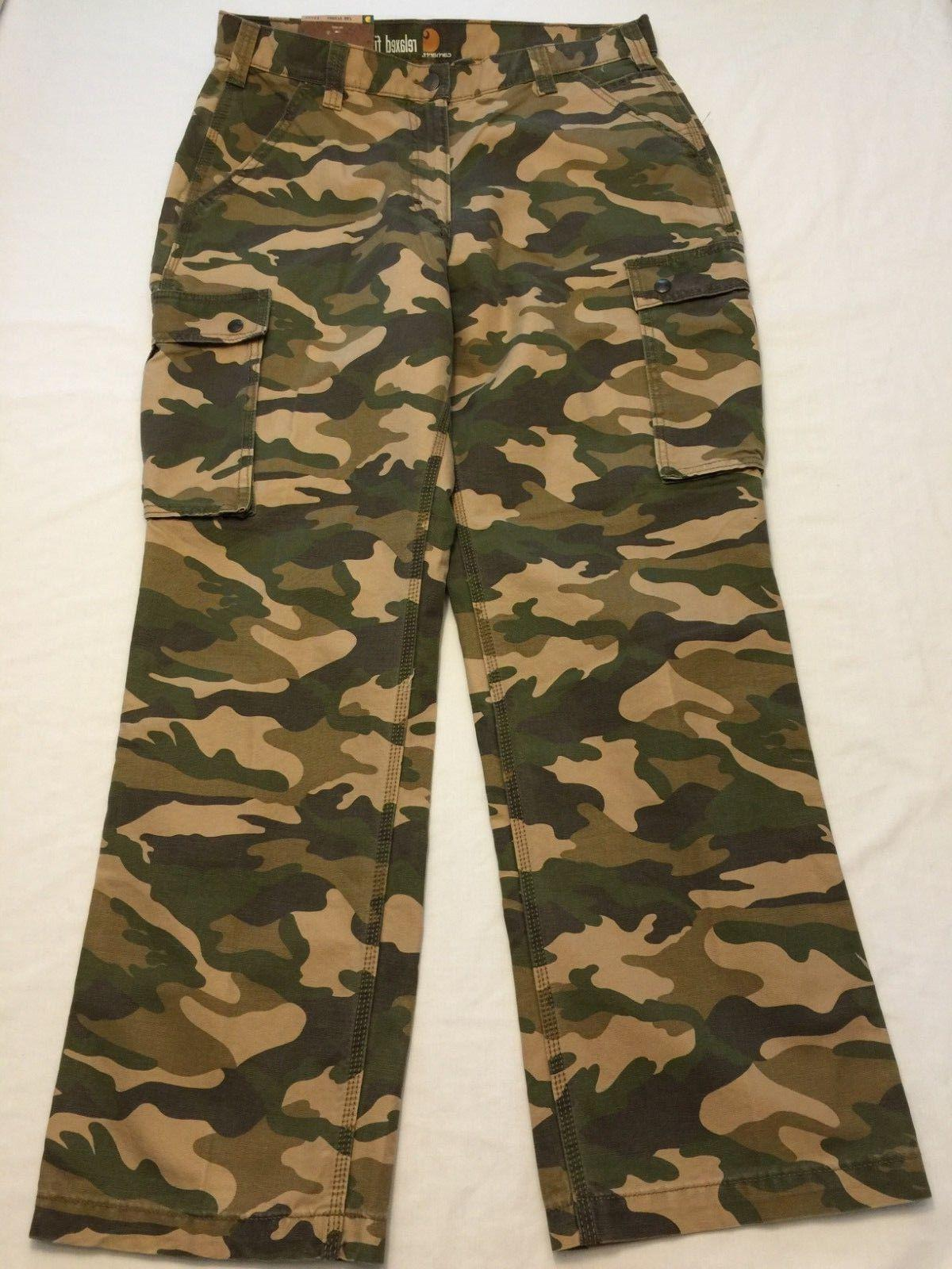 NWT Men's CARHARTT Rugged Work Pants 100272 Cargo Fit Straight Camo