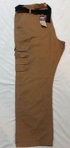 NWT Wrangler Mens Light Brown. Plus Size 46X30 Cargo Pants ,