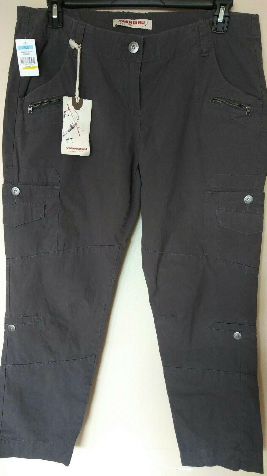 NWT Women's Junior Unionbay Cargo Pants Gray sz 5 inseam 26