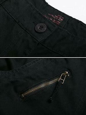 OCHENTA Cotton Cargo Pockets Casual Trousers