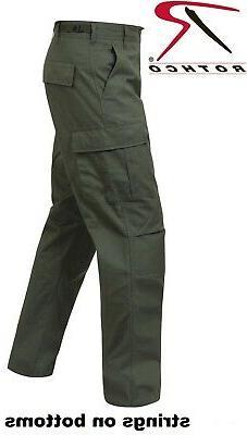 OD Green 6-Pocket Military 100% Cotton Rip-Stop BDU Cargo Fa