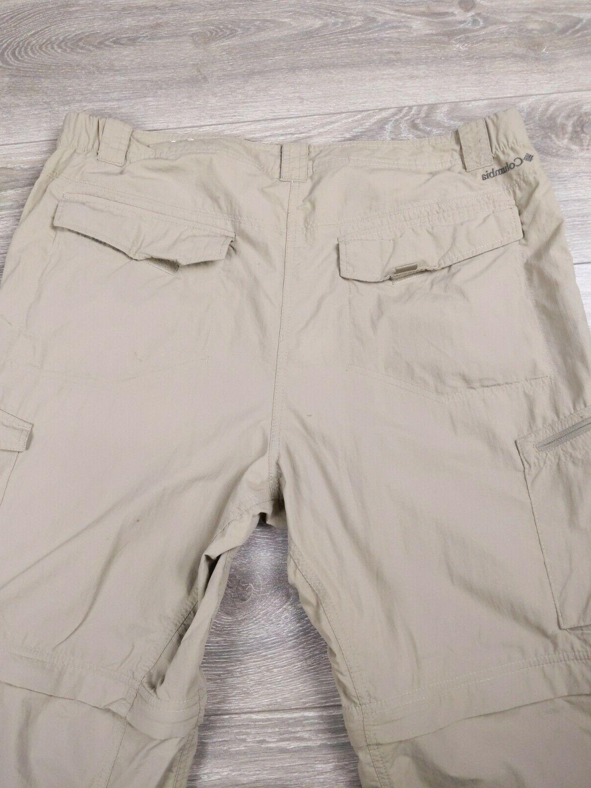 Columbia Omni-Shade Convertible Hiking Cargo Pants Men's 40 34 Tan
