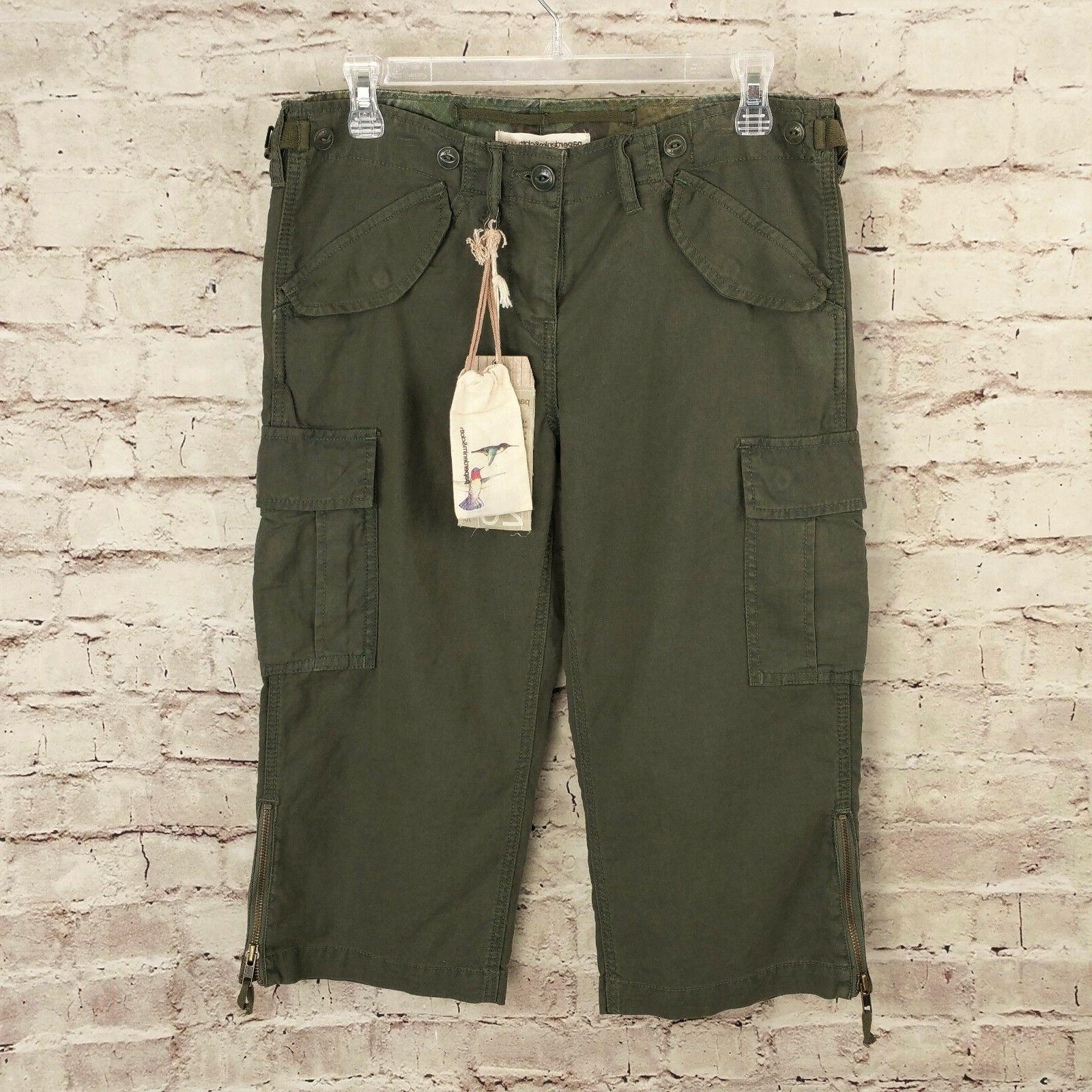 Paper Denim & Cloth Cargo Capri Pants Womens 26 27 Military