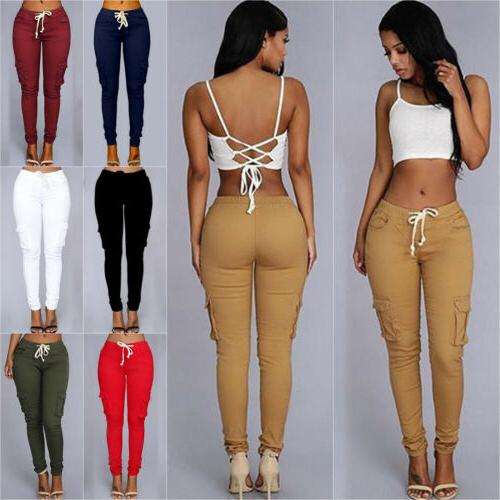 Women's Casual Pencil Pants Skinny High Waist Pockets Cargo