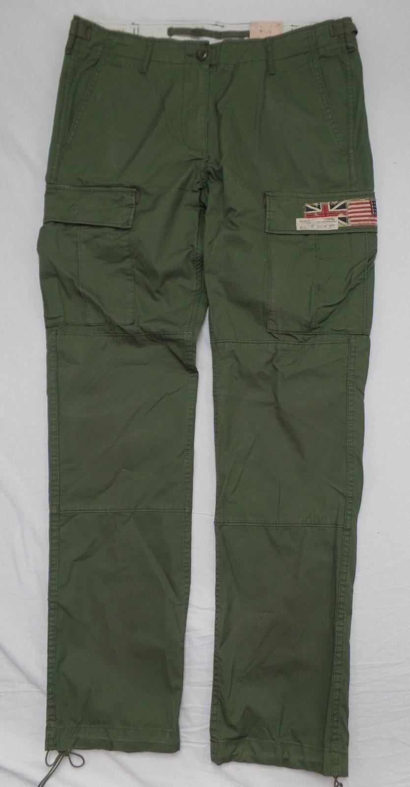 Ralph Lauren Denim Men Military US Flag Field Cargo Pants