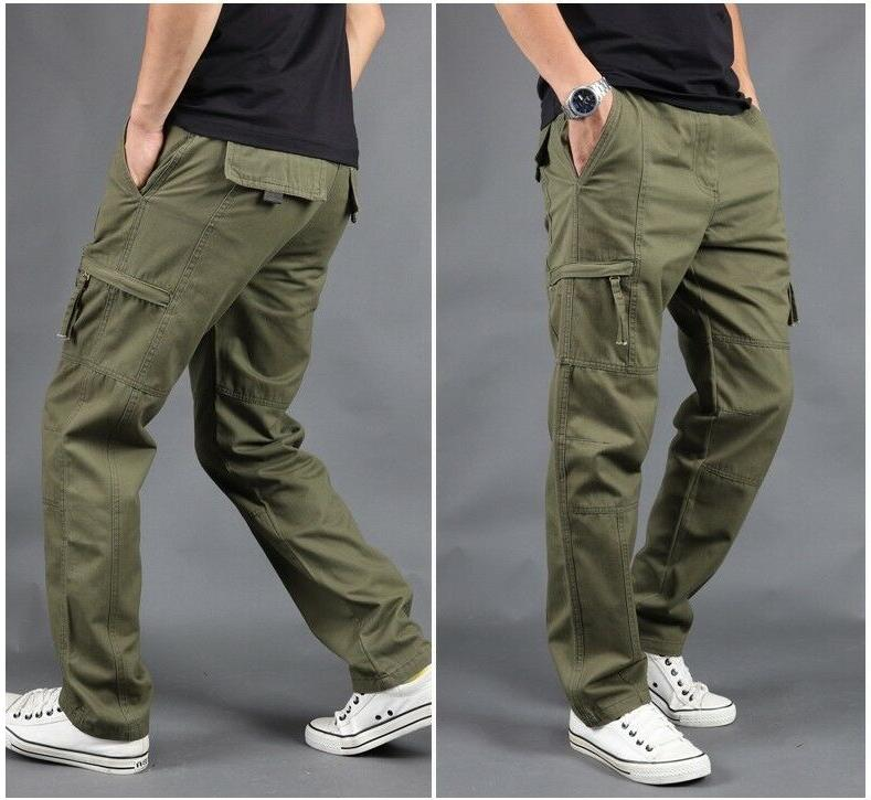 Mens Cargo Pocket Work Tactical Jogger Army Combat Thick