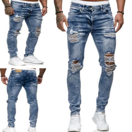 US Skinny Frayed Trousers Slim Pants