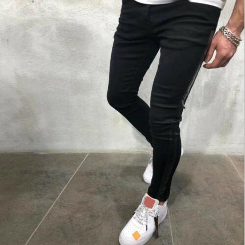 US Ripped Skinny Jeans Frayed Trousers Slim Fit Pants