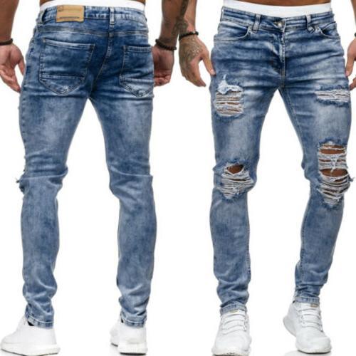 US Men Skinny Trousers Slim Fit Pants