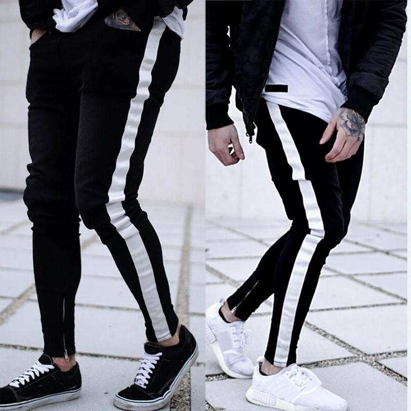 US Men Skinny Destroyed Trousers Slim Fit Pants