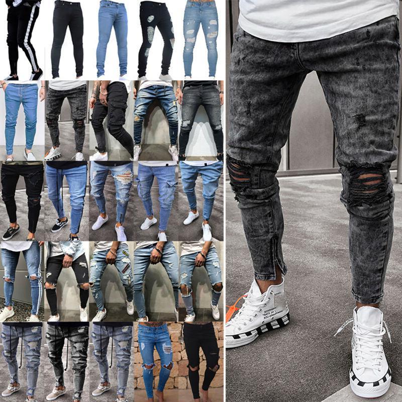 us men ripped biker skinny jeans frayed