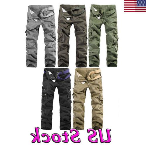 US Men's Cotton Military Cargo Pants Work Army Camo Tactical