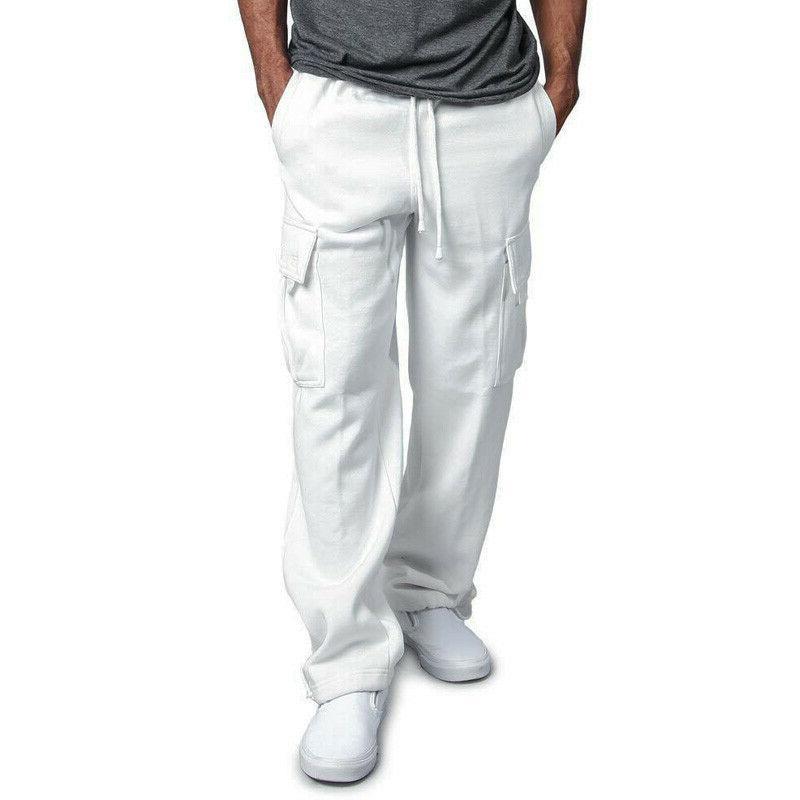 Men's Fleece Cargo Pocket Sweat Pants Loose Trousers