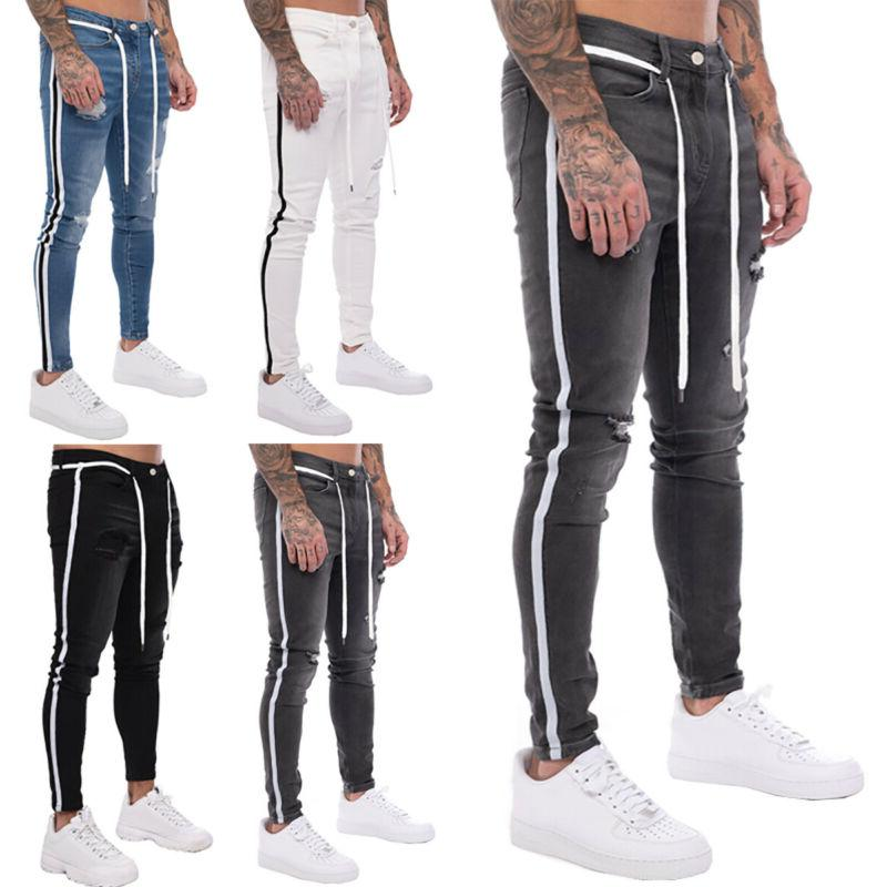 US Ripped Biker Trousers Slim Fit Denim Pants