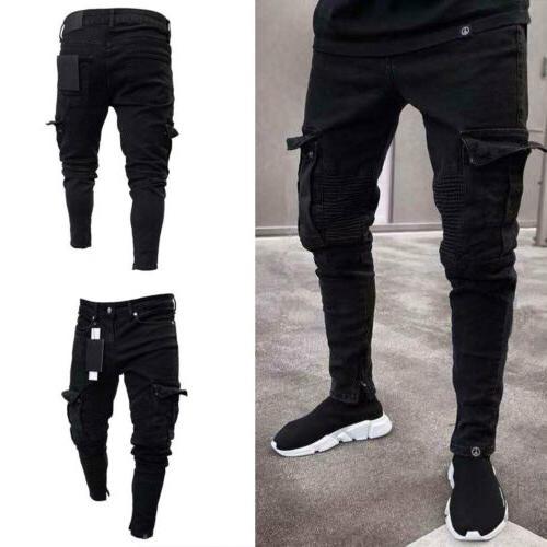 USA Destroyed Frayed Slim Denim Pants