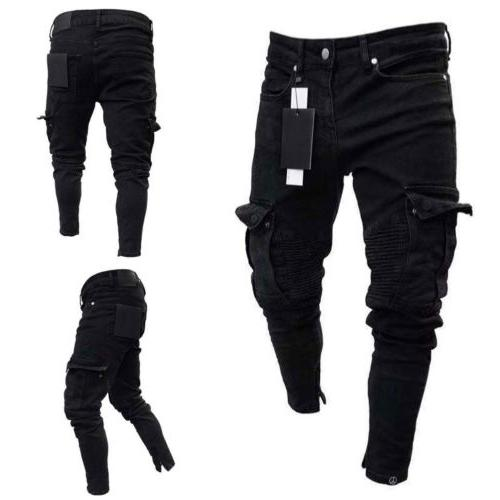 Destroyed Frayed Fit Denim Cargo Trousers